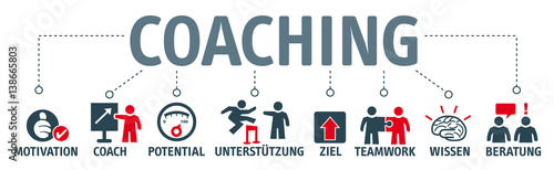 Fotografie, Obraz Banner Coaching - Illustration mit Piktogrammen