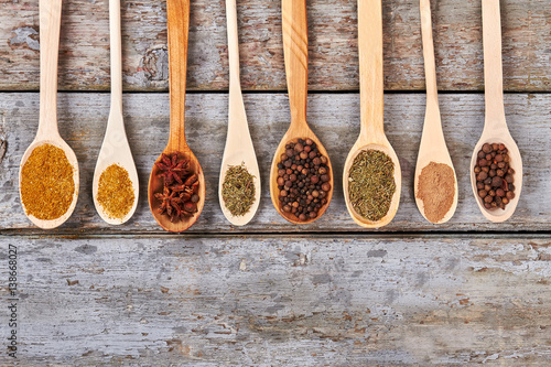 Canvas Prints Spices Various Indian colorful spices in wooden spoons.