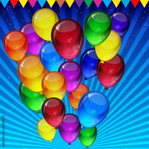In de dag Ballon Birthday party background - colorful festive balloons, confetti, ribbons flying for celebrations card in blue background with space for you text.