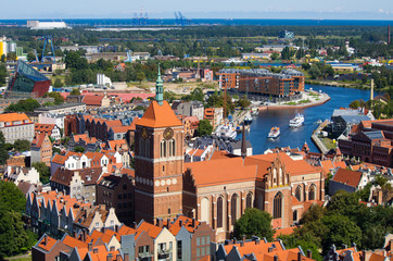 Cityscape with river, Gdansk, Poland