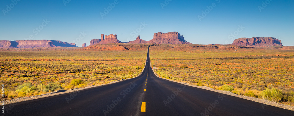 Fototapety, obrazy: Monument Valley with U.S. Highway 163 at sunset, Utah, USA