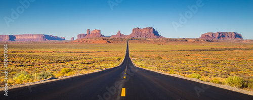 Recess Fitting United States Monument Valley with U.S. Highway 163 at sunset, Utah, USA