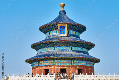 Poster Pekin Beijing , China - September 24, 2014: people tourist visiting the Temple of Heaven Beijing China Beijing China