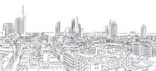Nuovo Skyline Di Milano, Disegno A Mano Libera. The Diamond Tower E Grattacieli, Torre Solaria, Unicredit Tower, Quartiere Di Brera, Italia