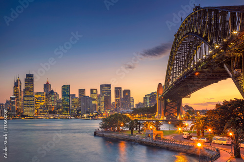 In de dag Australië Sydney. Cityscape image of Sydney, Australia with Harbour Bridge during summer sunset.