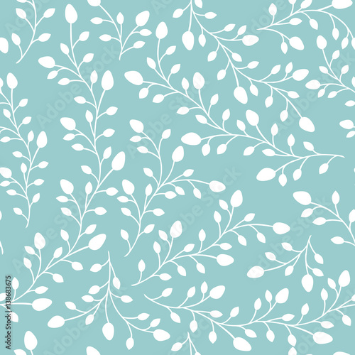 Seamless pattern background. Branches silhouette with leaves and buds. Vector illustration.