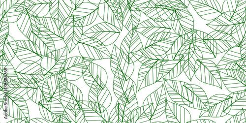 Türaufkleber Künstlich green seamless leaves