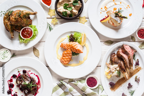 Photographie Fish and meat meals variety flat lay