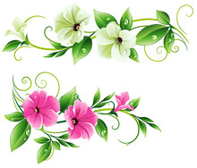 Floral Pattern With Petunia. Horizontal Ornament With Flowers And Leaves