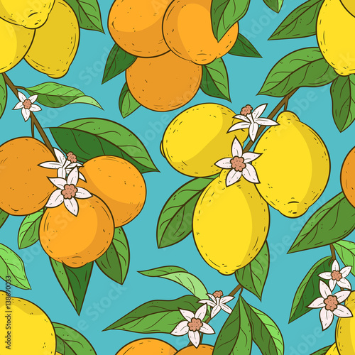 Seamless Pattern With Oranges And Lemons Cute Vector Background