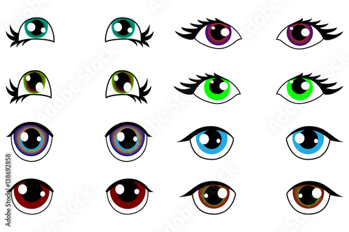 Anime Kawaii Set Of Eyes With Different Emotions