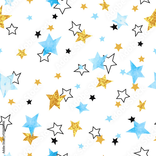 Cotton fabric Seamless Stars pattern. Vector background with watercolor blue and glittering golden stars.