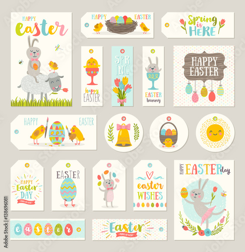 Set of easter gift tags and labels with cute cartoon characters and set of easter gift tags and labels with cute cartoon characters and type design negle Choice Image