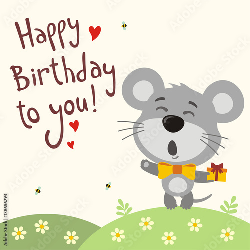 Happy birthday to you! Funny mouse sings birthday song with