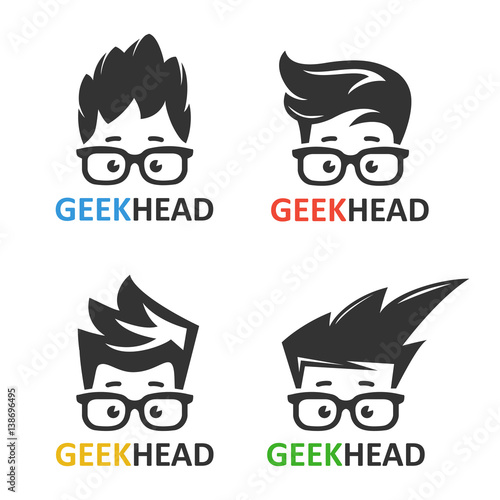 Geeks and nerds vector set of logos Canvas Print