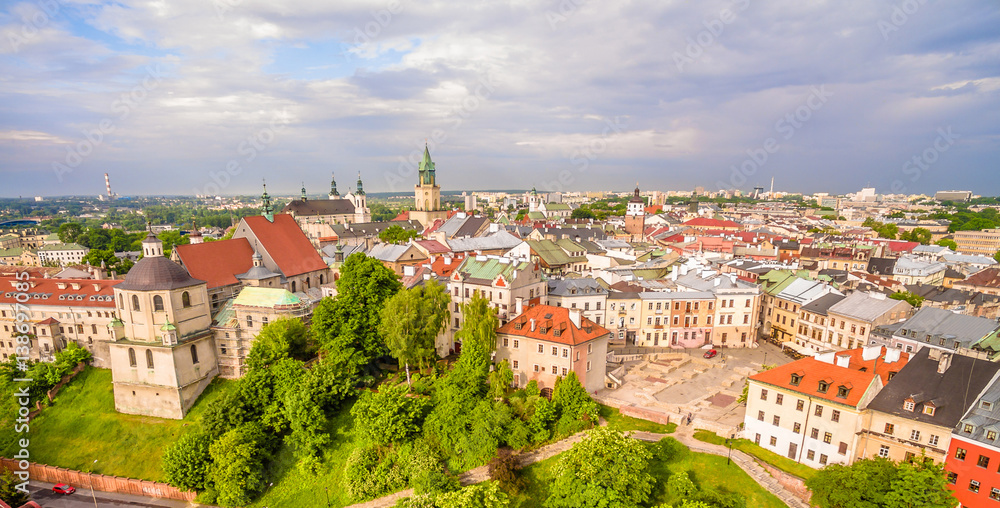 Fototapety, obrazy: Lublin stare miasto. Zabytki Lublina z lotu ptaka.