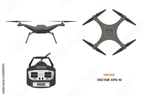Tablou Canvas Grey drone on a white background
