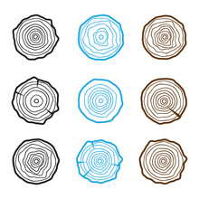 Set Of Four Tree Rings Icons. Concept Of Saw Cut Tree Trunk, Forestry And Sawmill
