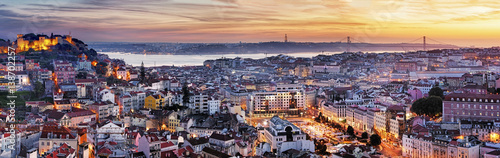 Poster Central Europe Panorama of Lisbon at night, Portugal