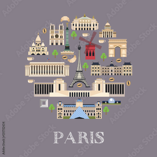 Photo  Vector illustration of the landmark in Paris.