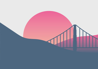Obraz na SzkleBeautiful San Francisco sunrise minimal poster