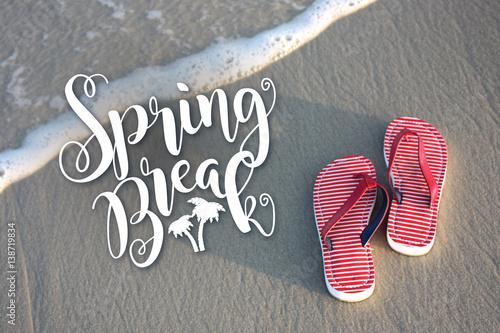 Valokuva  Spring break flip flops on the beach