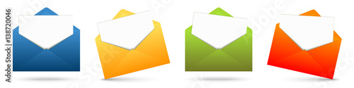 Fototapeta colored envelopes with white paper obraz