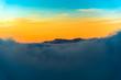 Winter sunset in carpathian mountains