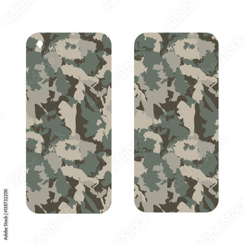 In de dag Art Studio Mobile phone cover back and screen, Camouflage military seamless pattern under mask.