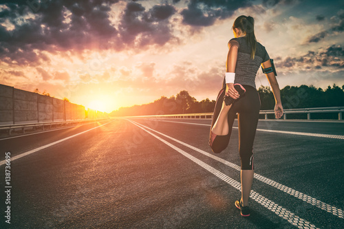 Foto op Canvas Jogging Fitness and workout wellness concept.