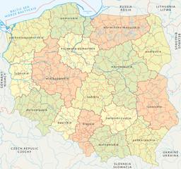 Fototapeta samoprzylepna Vector map of Poland administrative division vol.4