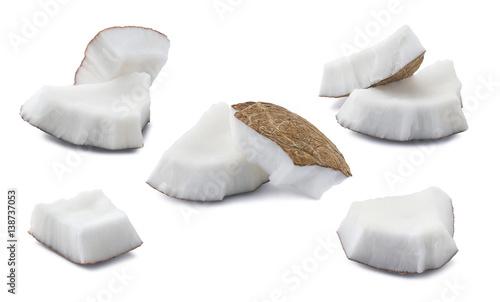 Coconut set pieces 2 isolated on white