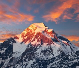 Fototapeta Góry evening sunset view of mount Dhaulagiri, Himalayas, Nepal