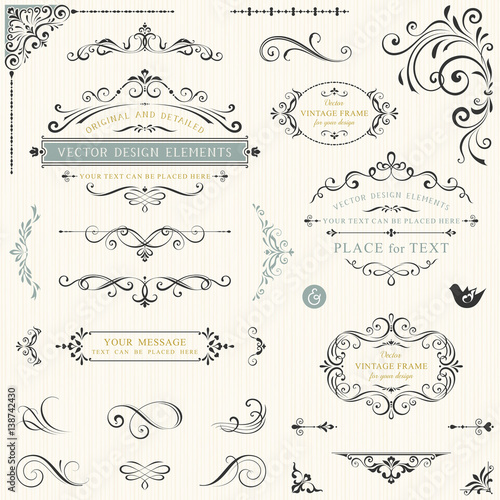 Calligraphy swirls, swashes, ornate motifs and scrolls. Vector illustration. Wall mural