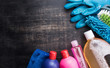 canvas print picture - Cleaning products and tools on a wooden floor,Cleaning concept
