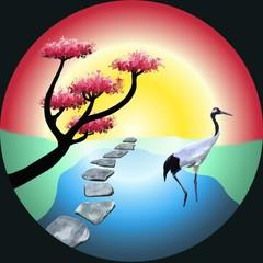 Panel Szklany Japoński Symbolisme du jardin japonais. Un arbre taillé en nuage, des pas japonais, une grue dans une mare et le soleil levant, le tout dans un cercle.