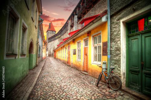 Tuinposter Oude verlaten gebouwen Old streets of European cities.