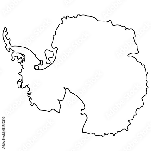 Fotografie, Obraz  Isolated map of Antartica on a white background, Vector illustration