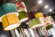 Many Fabric Lampshade Lamp