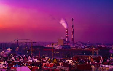 Fototapeta Panorama illuminated old town of Wroclaw at night. Popular travel destination in Poland. High dynamic range.