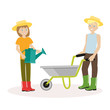 Couple of gardeners. Man with wheelbarrow, a woman holding watering can. Flat character isolated on white background. Vector, illustration EPS10.