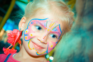 Pretty Girl Child with face painting. Make up.