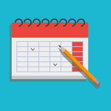 Calendar And Pencil Vector Isolated Flat Clipart Icon