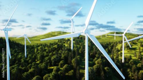turbina wiatrowa. cudowny krajobraz. Koncepcja ekologiczna. Renderowania 3d.
