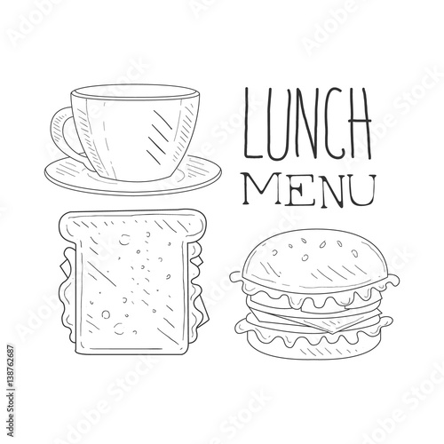500_F_138762687_KdftBeLLriVeNcD3g5G5sHuJKfqsJRnT cafe lunch menu promo sign in sketch style with sandwich, burger on sandwich label template