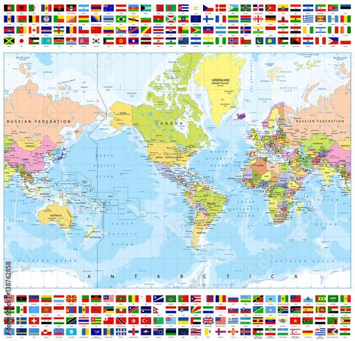 Plakat Centrowana mapa polityczna Ameryki i flagi wszystkich krajów świata - batymetria