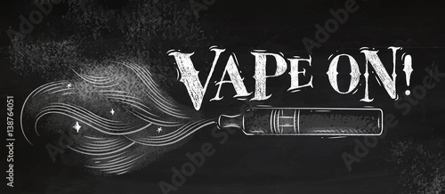 Fotomural Poster electronic cigarette, vaporizer with smoke cloud in vintage style letteri