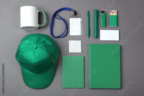 Fotografie, Obraz  Set of blank items for branding on grey background
