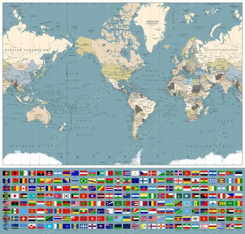 Plakat Ameryka Centrowana mapa świata i wszystkie flagi świata. Retro kolory
