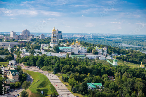 Canvas Prints Kiev Kiev Pechersk Lavra a top view on the banks of the Dnieper River